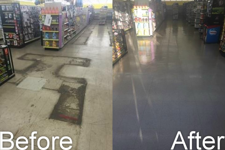 Floor Stripping and Waxing Before and After Picture from Corporate Maintenance
