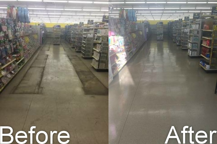 Floor Stripping and Waxing Before and After Pictures from Corporate Maintenance